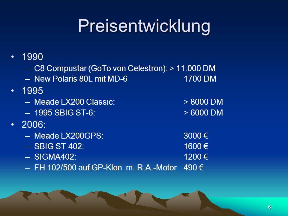 6 Preisentwicklung 1990 –C8 Compustar (GoTo von Celestron): > 11.000 DM –New Polaris 80L mit MD-61700 DM 1995 –Meade LX200 Classic: > 8000 DM –1995 SB