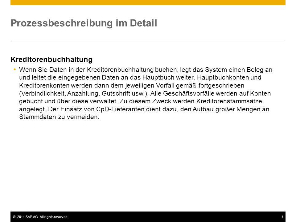 ©2011 SAP AG. All rights reserved.4 Prozessbeschreibung im Detail Kreditorenbuchhaltung Wenn Sie Daten in der Kreditorenbuchhaltung buchen, legt das S