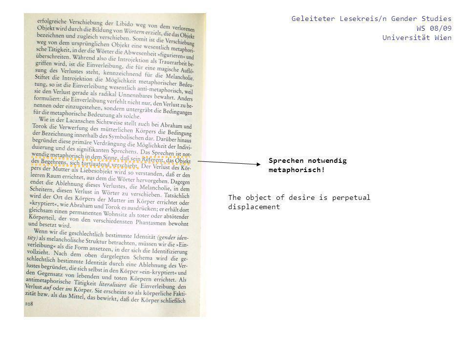 Geleiteter Lesekreis/n Gender Studies WS 08/09 Universität Wien Körper trägt das Attribut Geschlecht als literale Wahrheit