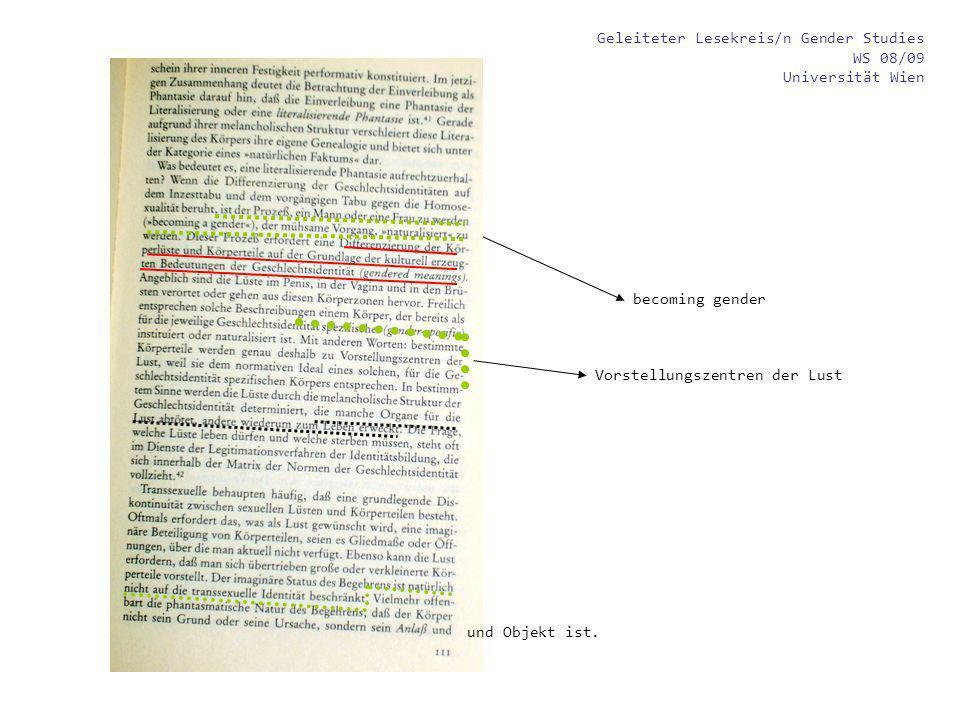 Geleiteter Lesekreis/n Gender Studies WS 08/09 Universität Wien becoming gender und Objekt ist. Vorstellungszentren der Lust