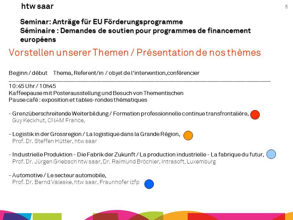 htw saar 5 Seminar: Anträge für EU Förderungsprogramme Séminaire : Demandes de soutien pour programmes de financement européens Vorstellen unserer The