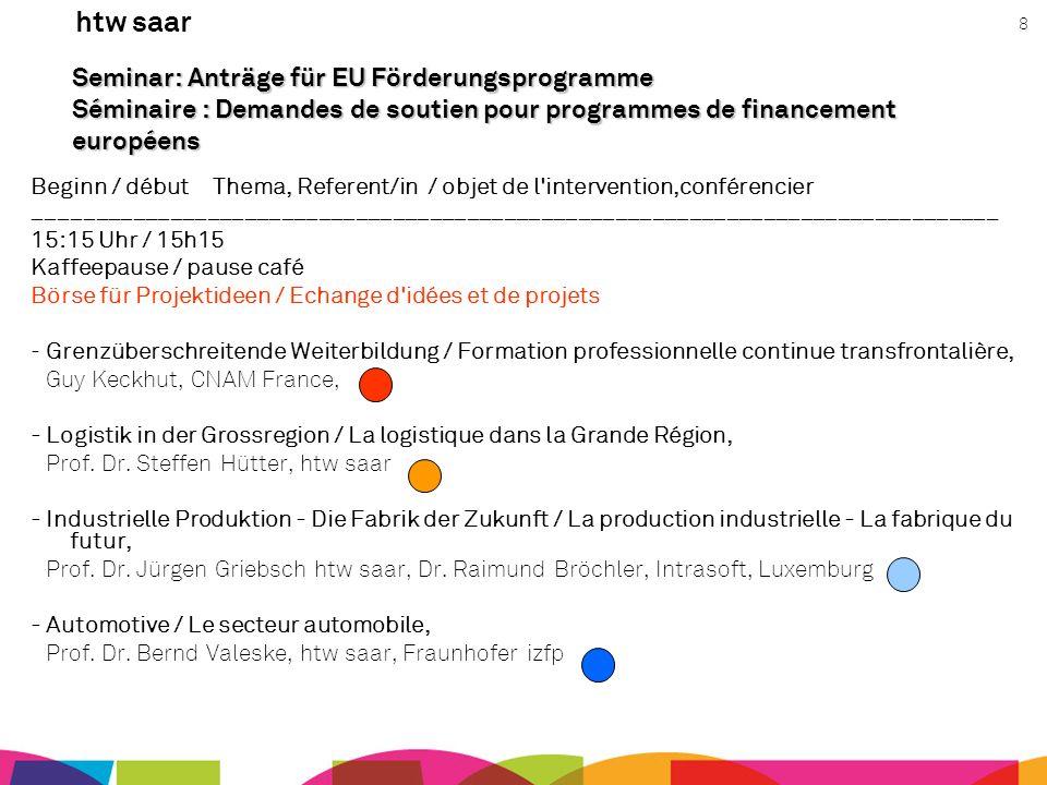 htw saar 8 Seminar: Anträge für EU Förderungsprogramme Séminaire : Demandes de soutien pour programmes de financement européens Beginn / début Thema,