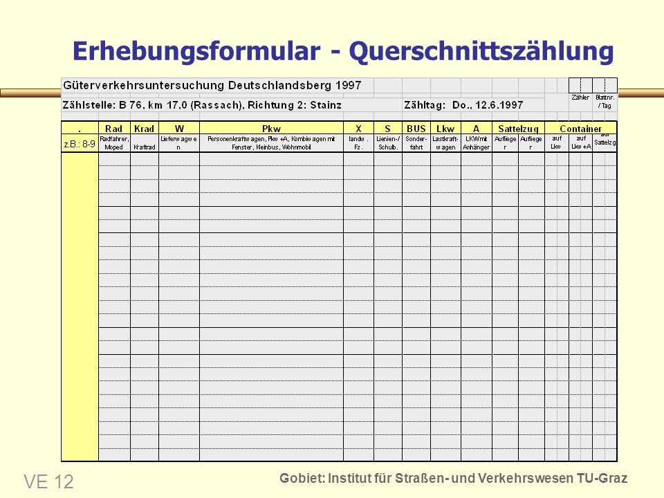 Gobiet: Institut für Straßen- und Verkehrswesen TU-Graz VE 12 Erhebungsformular - Querschnittszählung