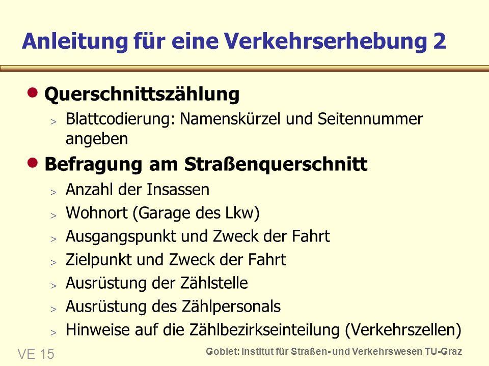 Gobiet: Institut für Straßen- und Verkehrswesen TU-Graz VE 15 Anleitung für eine Verkehrserhebung 2 Querschnittszählung Blattcodierung: Namenskürzel u