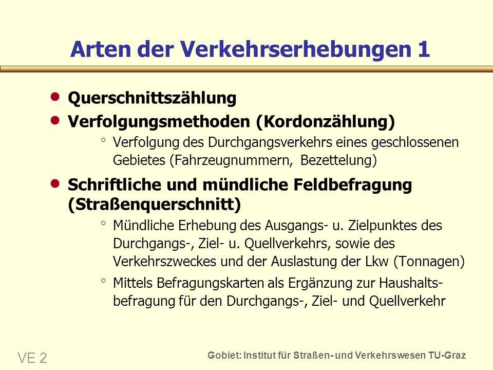 Gobiet: Institut für Straßen- und Verkehrswesen TU-Graz VE 2 Arten der Verkehrserhebungen 1 Querschnittszählung Verfolgungsmethoden (Kordonzählung) Ve