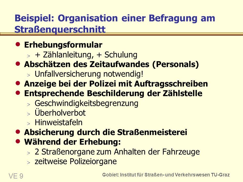 Gobiet: Institut für Straßen- und Verkehrswesen TU-Graz VE 9 Beispiel: Organisation einer Befragung am Straßenquerschnitt Erhebungsformular + Zählanle
