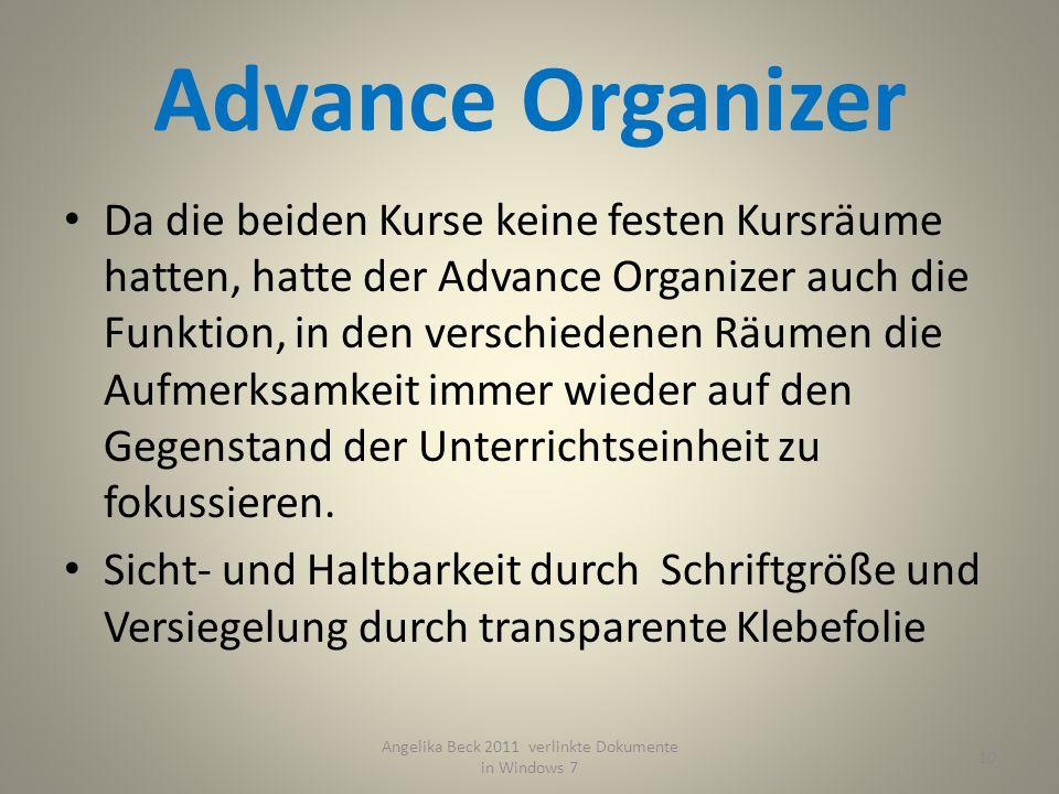 Advance Organizer 10 Angelika Beck 2011 verlinkte Dokumente in Windows 7 Da die beiden Kurse keine festen Kursräume hatten, hatte der Advance Organizer auch die Funktion, in den verschiedenen Räumen die Aufmerksamkeit immer wieder auf den Gegenstand der Unterrichtseinheit zu fokussieren.