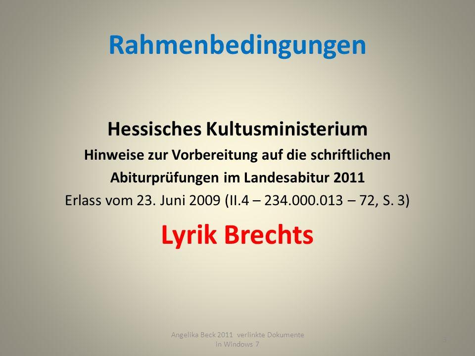Rahmenbedingungen Hessisches Kultusministerium Hinweise zur Vorbereitung auf die schriftlichen Abiturprüfungen im Landesabitur 2011 Erlass vom 23.