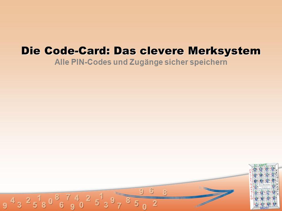 Die Code-Card: Das clevere Merksystem Die Code-Card: Das clevere Merksystem Alle PIN-Codes und Zugänge sicher speichern