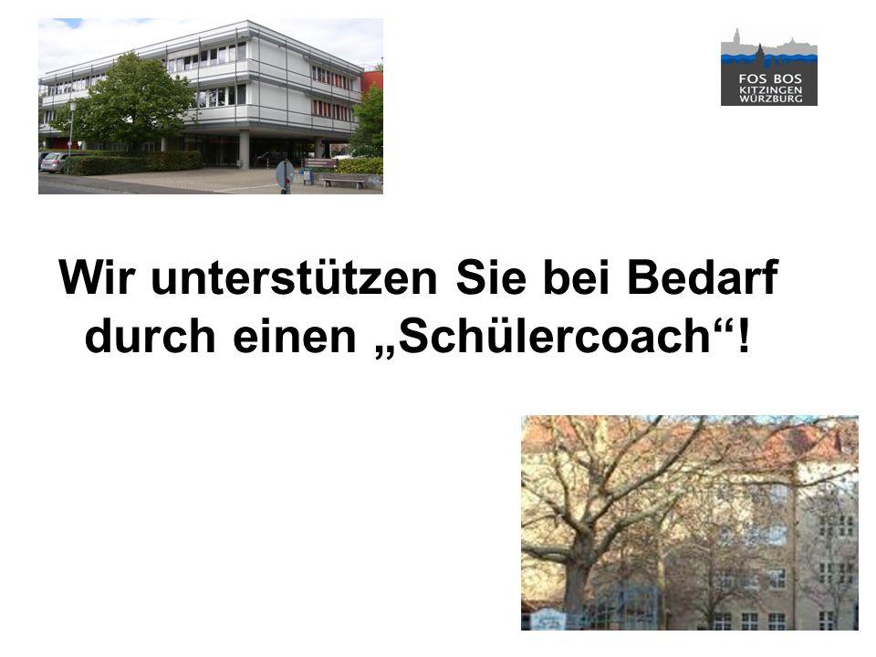 Stand: Schuljahr 2012/2013© Berufliche Oberschule Kitzingen Berufliche Oberschule Kitzingen Staatliche Fach- und Berufsoberschule 1 Wir unterstützen Sie bei Bedarf durch einen Schülercoach!