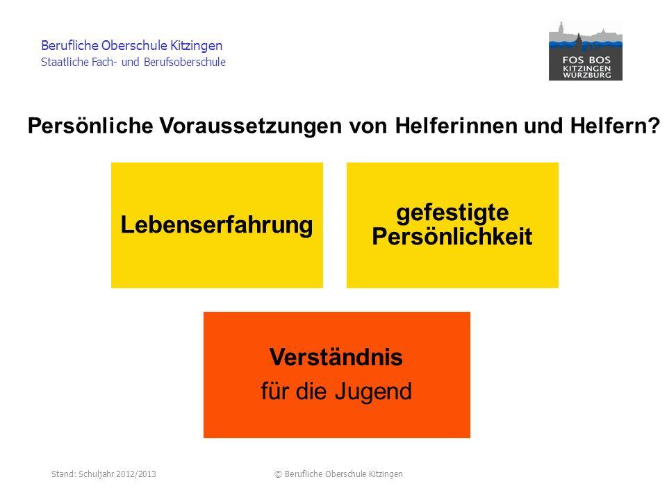 Stand: Schuljahr 2012/2013© Berufliche Oberschule Kitzingen Berufliche Oberschule Kitzingen Staatliche Fach- und Berufsoberschule Persönliche Vorausse