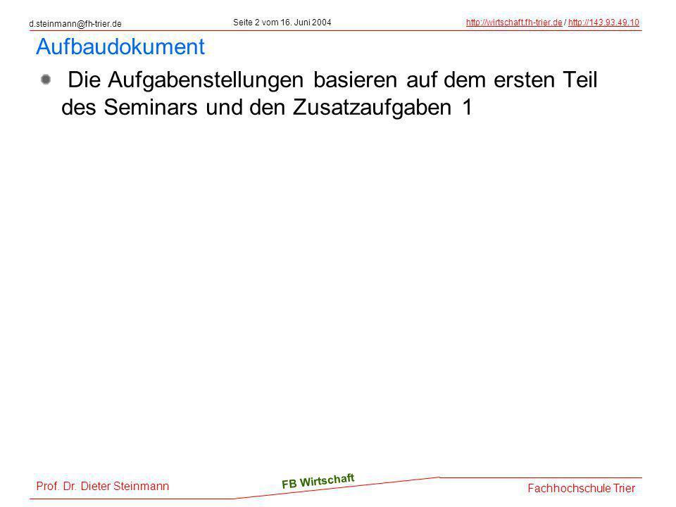 d.steinmann@fh-trier.de Seite 2 vom 16. Juni 2004http://wirtschaft.fh-trier.dehttp://wirtschaft.fh-trier.de / http://143.93.49.10http://143.93.49.10 F