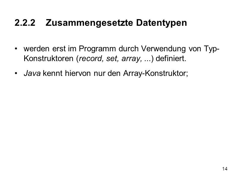 14 2.2.2 Zusammengesetzte Datentypen werden erst im Programm durch Verwendung von Typ- Konstruktoren (record, set, array,...) definiert. Java kennt hi