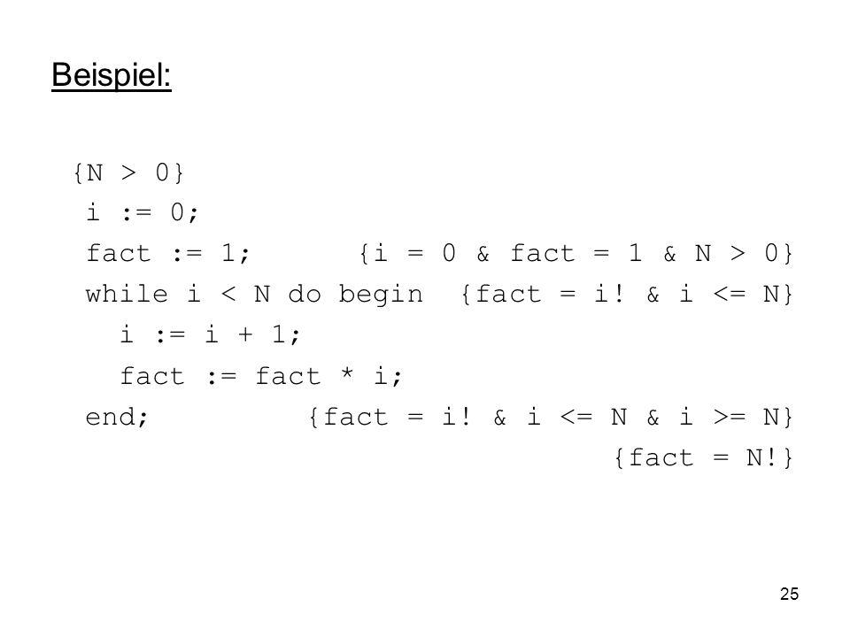 25 Beispiel: {N > 0} i := 0; fact := 1; {i = 0 & fact = 1 & N > 0} while i < N do begin {fact = i! & i <= N} i := i + 1; fact := fact * i; end; {fact
