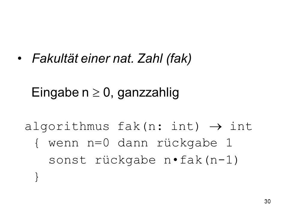 30 Fakultät einer nat. Zahl (fak) Eingabe n 0, ganzzahlig algorithmus fak(n: int) int { wenn n=0 dann rückgabe 1 sonst rückgabe nfak(n-1) }
