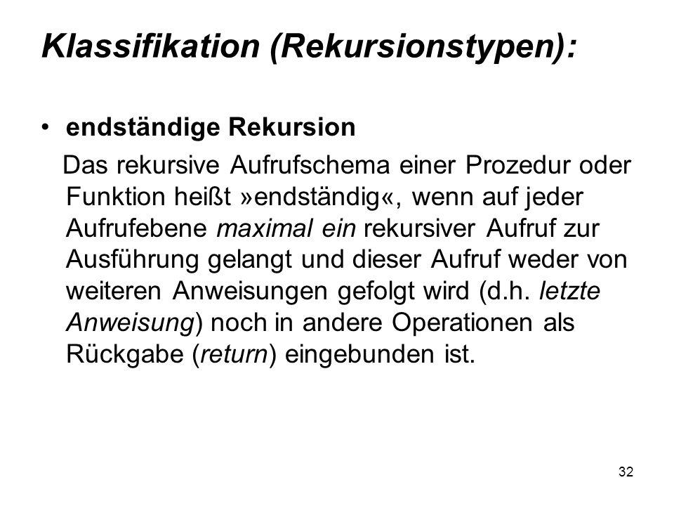 32 Klassifikation (Rekursionstypen): endständige Rekursion Das rekursive Aufrufschema einer Prozedur oder Funktion heißt »endständig«, wenn auf jeder
