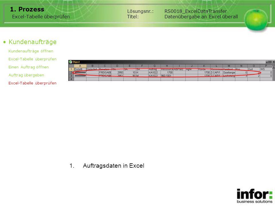 Bemerkung Wenn Sie eine Übergabe von der Position oder von dem Kopf machen, werden immer die Auftragspositionen in Excel übergeben.