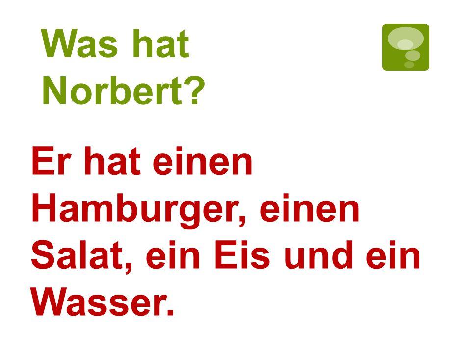 Was hat Norbert? Er hat einen Hamburger, einen Salat, ein Eis und ein Wasser.