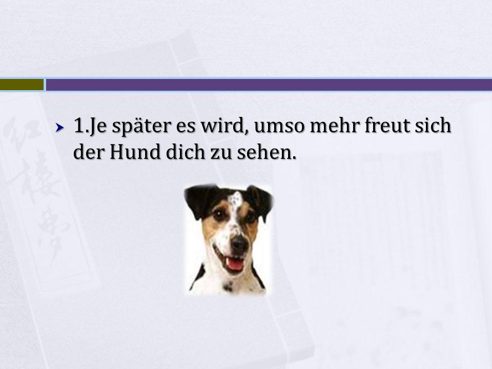 1.Je später es wird, umso mehr freut sich der Hund dich zu sehen.