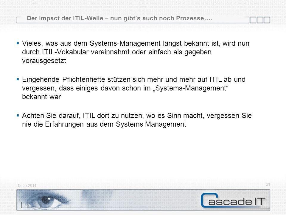 Der Impact der ITIL-Welle – nun gibts auch noch Prozesse…. Vieles, was aus dem Systems-Management längst bekannt ist, wird nun durch ITIL-Vokabular ve
