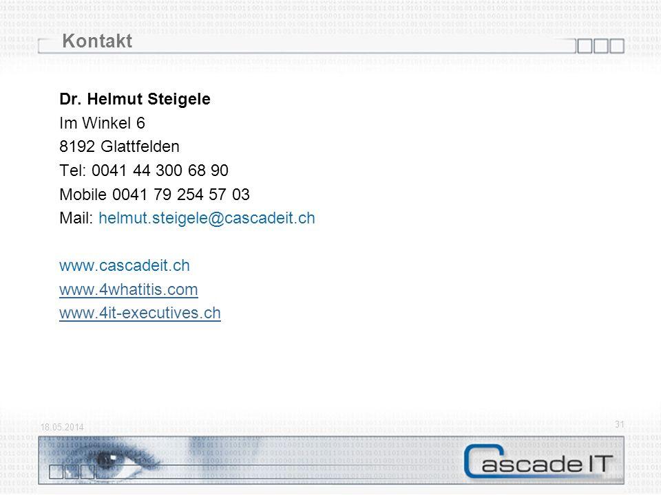 18.05.2014 31 Kontakt Dr. Helmut Steigele Im Winkel 6 8192 Glattfelden Tel: 0041 44 300 68 90 Mobile 0041 79 254 57 03 Mail: helmut.steigele@cascadeit