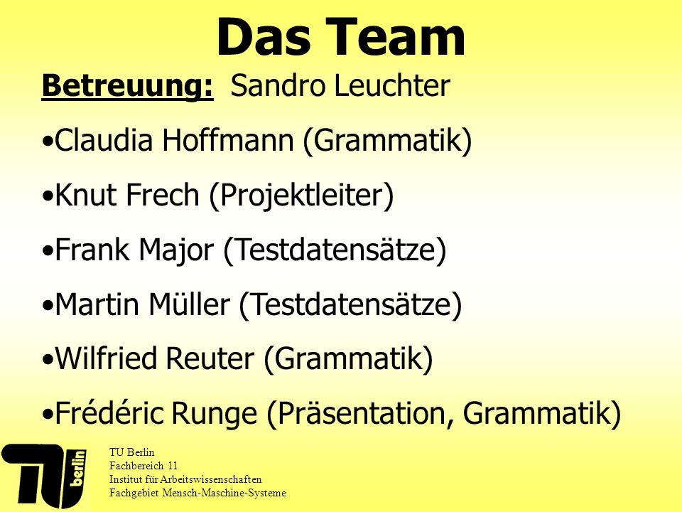 Das Team TU Berlin Fachbereich 11 Institut für Arbeitswissenschaften Fachgebiet Mensch-Maschine-Systeme Betreuung: Sandro Leuchter Claudia Hoffmann (G