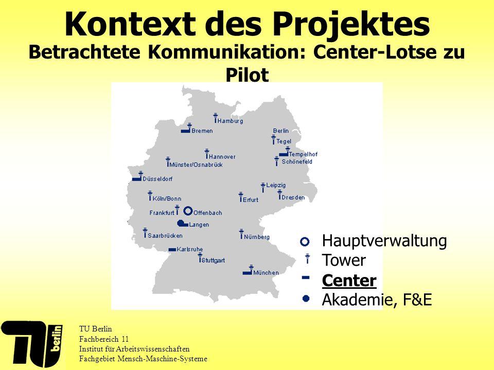 Kontext des Projektes TU Berlin Fachbereich 11 Institut für Arbeitswissenschaften Fachgebiet Mensch-Maschine-Systeme Betrachtete Kommunikation: Center-Lotse zu Pilot Hauptverwaltung Tower Akademie, F&E Center