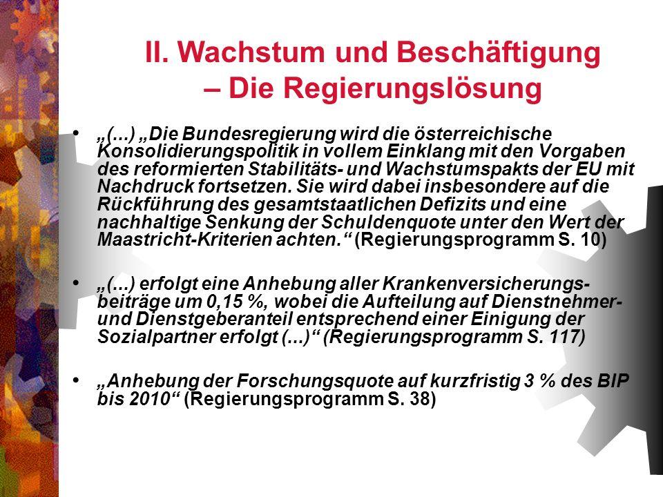 II. Wachstum und Beschäftigung – Die Regierungslösung (...) Die Bundesregierung wird die österreichische Konsolidierungspolitik in vollem Einklang mit