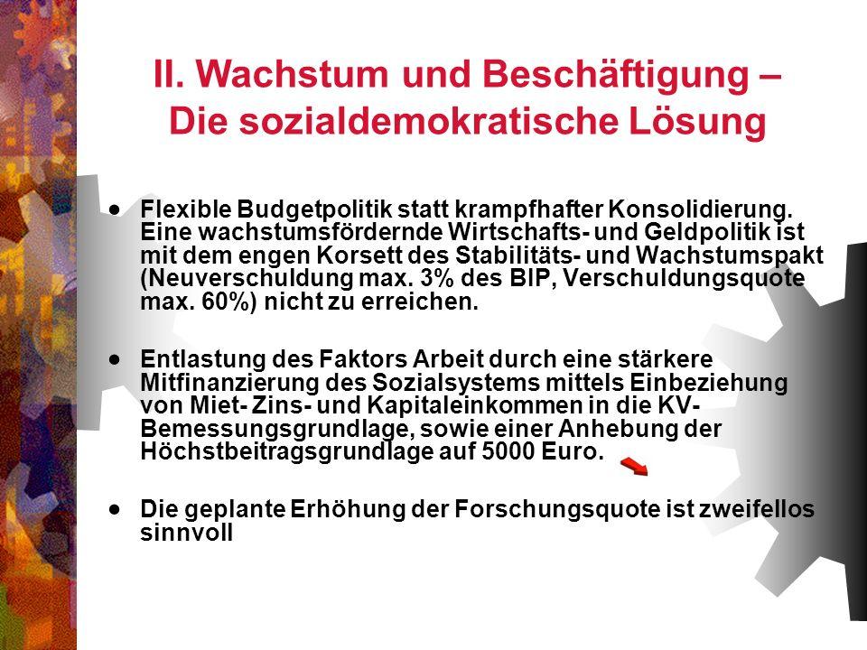 II. Wachstum und Beschäftigung – Die sozialdemokratische Lösung Flexible Budgetpolitik statt krampfhafter Konsolidierung. Eine wachstumsfördernde Wirt