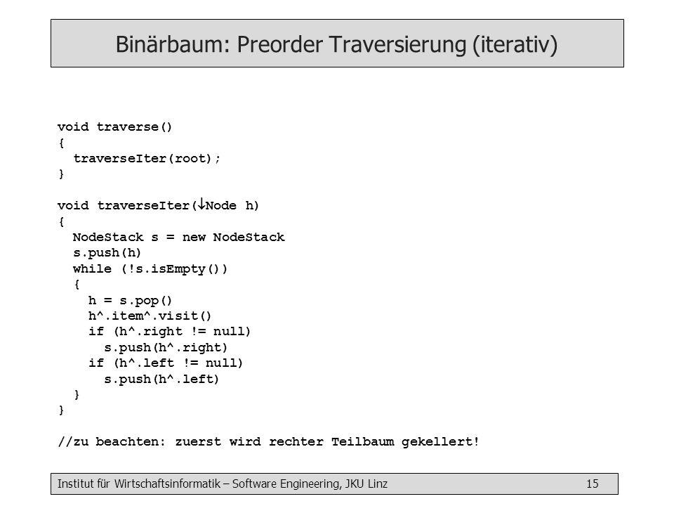 Institut für Wirtschaftsinformatik – Software Engineering, JKU Linz 15 Binärbaum: Preorder Traversierung (iterativ) void traverse() { traverseIter(root); } void traverseIter( Node h) { NodeStack s = new NodeStack s.push(h) while (!s.isEmpty()) { h = s.pop() h^.item^.visit() if (h^.right != null) s.push(h^.right) if (h^.left != null) s.push(h^.left) } //zu beachten: zuerst wird rechter Teilbaum gekellert!