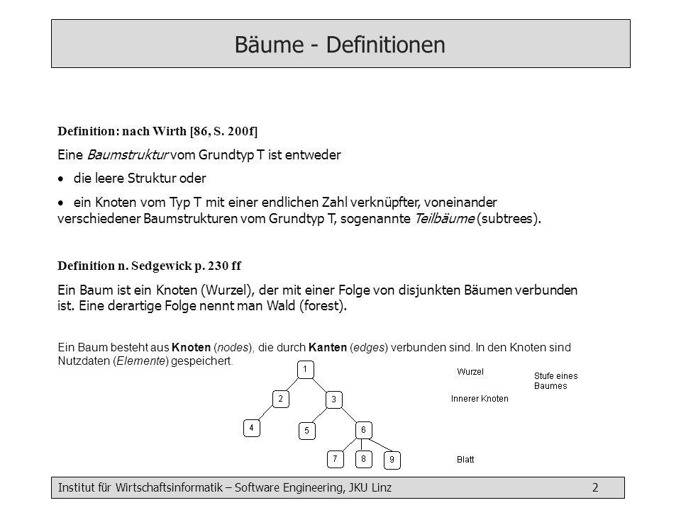 Institut für Wirtschaftsinformatik – Software Engineering, JKU Linz 13 Binärer Suchbaum: Suchen (iterativ) Item searchIter( String key) { Node current = root while (current != null) { if (current^.item^.key == key) return current^.item if (key < current.item.key) current = current^.left else current = current^.right } return null // not found }