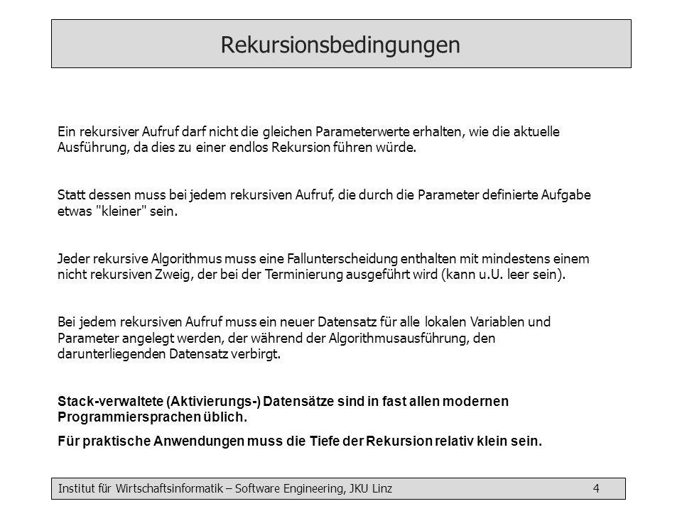Institut für Wirtschaftsinformatik – Software Engineering, JKU Linz 5 Beispiel: Fakultät berechnen int factorial( int n) { if (n > 1) { return factorial( n - 1) * n; } else { return 1; } trace: factorial(5), factorial(4), factorial(3), factorial(2), factorial(1) return 1 return 1*2 return 2*3 return 6*4 return 24*5 ergebnis: 120