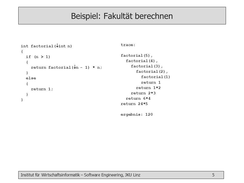 Institut für Wirtschaftsinformatik – Software Engineering, JKU Linz 16 Binärbaum: Levelorder Traversierung (iterativ) void traverse() { traverseLevels(root) } void traverseLevels( Node h) { NodeQueue q = new NodeQueue q.enqueue(h) while (!q.isEmpty()) { h = q.dequeue() h^.item.^visit() if (h^.left != null) q.enqueue(h^.left) if (h^.right != null) q.enqueue(h^.right) }