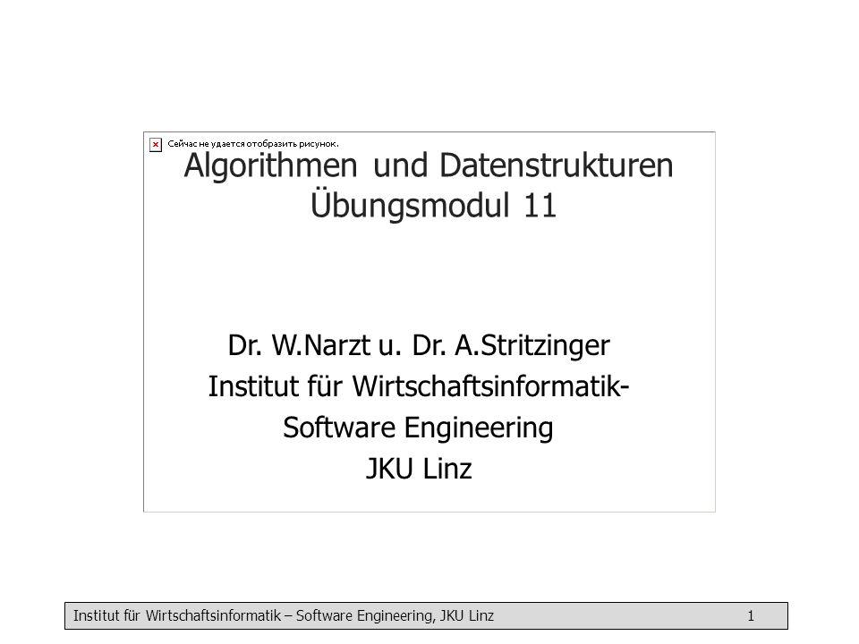 Institut für Wirtschaftsinformatik – Software Engineering, JKU Linz 1 Algorithmen und Datenstrukturen Übungsmodul 11 Dr. W.Narzt u. Dr. A.Stritzinger
