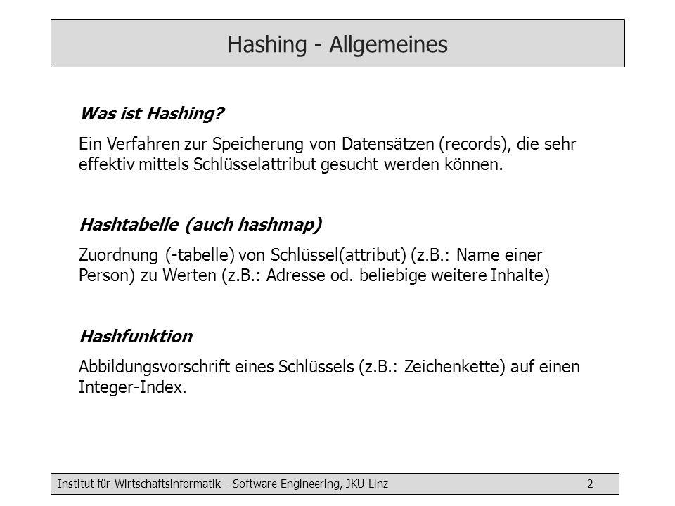 Institut für Wirtschaftsinformatik – Software Engineering, JKU Linz 2 Hashing - Allgemeines Was ist Hashing? Ein Verfahren zur Speicherung von Datensä