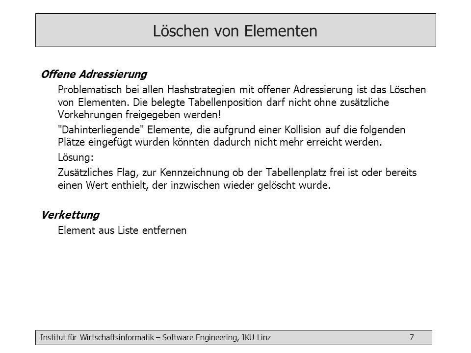 Institut für Wirtschaftsinformatik – Software Engineering, JKU Linz 7 Löschen von Elementen Offene Adressierung Problematisch bei allen Hashstrategien