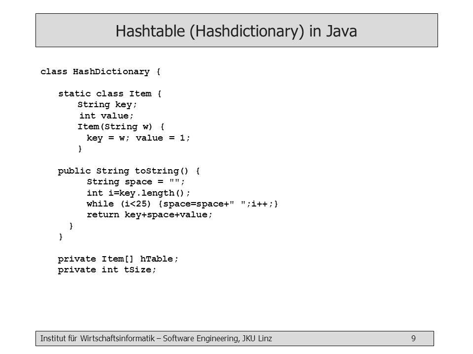 Institut für Wirtschaftsinformatik – Software Engineering, JKU Linz 9 Hashtable (Hashdictionary) in Java class HashDictionary { static class Item { St