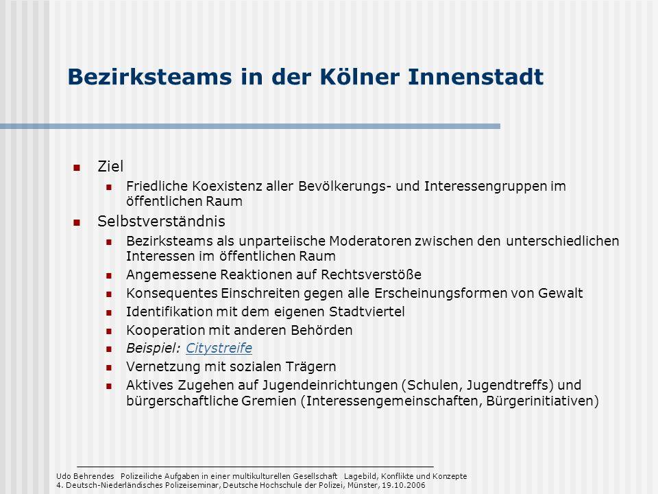 Bezirksteams in der Kölner Innenstadt Ziel Friedliche Koexistenz aller Bevölkerungs- und Interessengruppen im öffentlichen Raum Selbstverständnis Bezi