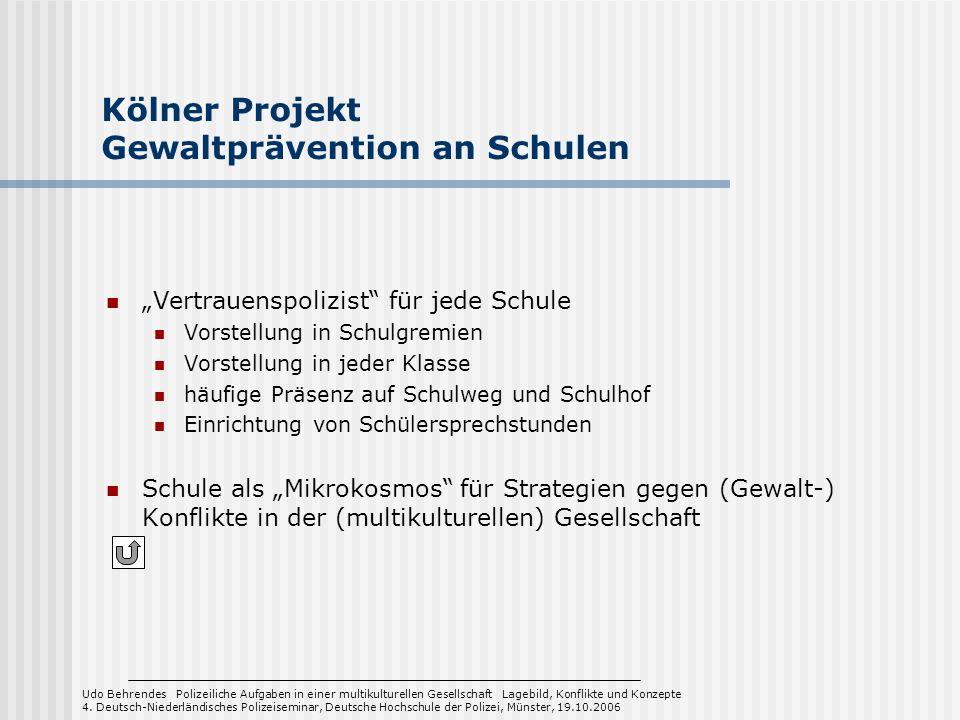 Kölner Projekt Gewaltprävention an Schulen Vertrauenspolizist für jede Schule Vorstellung in Schulgremien Vorstellung in jeder Klasse häufige Präsenz