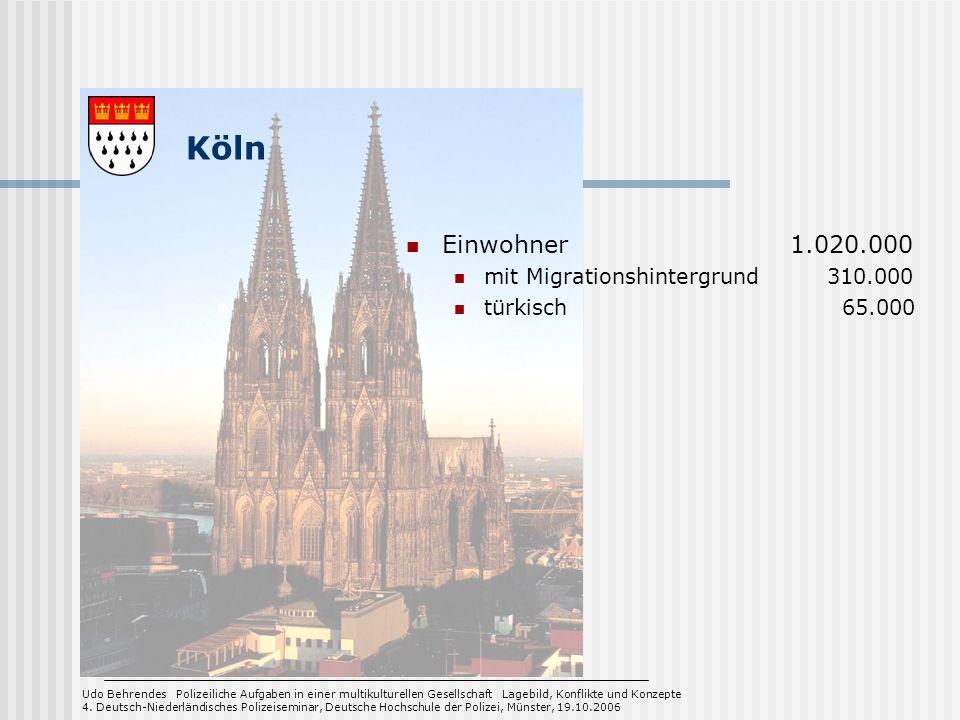 Köln Einwohner 1.020.000 mit Migrationshintergrund 310.000 türkisch 65.000 Udo Behrendes Polizeiliche Aufgaben in einer multikulturellen Gesellschaft