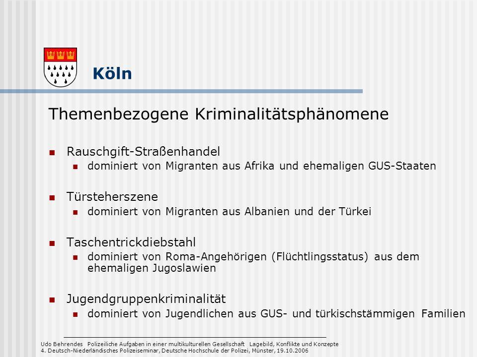 Rauschgift-Straßenhandel dominiert von Migranten aus Afrika und ehemaligen GUS-Staaten Türsteherszene dominiert von Migranten aus Albanien und der Tür
