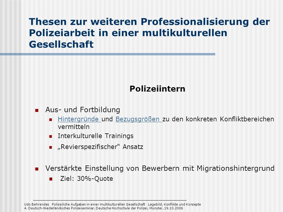Thesen zur weiteren Professionalisierung der Polizeiarbeit in einer multikulturellen Gesellschaft Polizeiintern Aus- und Fortbildung Hintergründe und