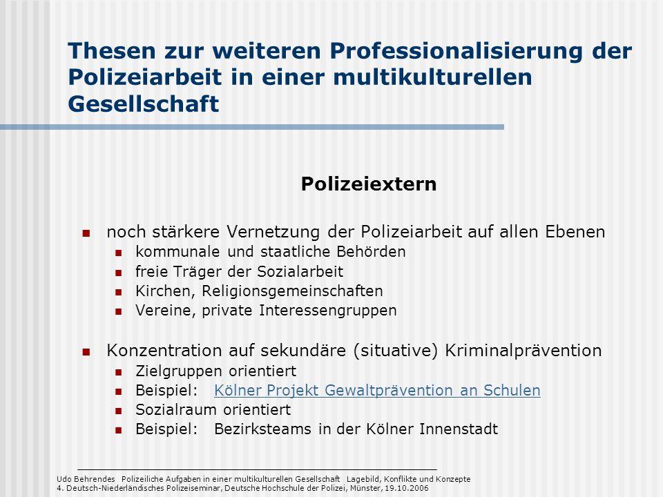 Thesen zur weiteren Professionalisierung der Polizeiarbeit in einer multikulturellen Gesellschaft Polizeiextern noch stärkere Vernetzung der Polizeiar