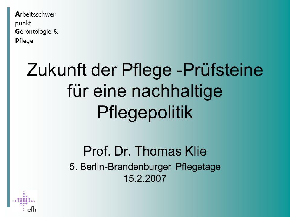 A rbeitsschwer punkt Gerontologie & Pflege Zukunft der Pflege -Prüfsteine für eine nachhaltige Pflegepolitik Prof.