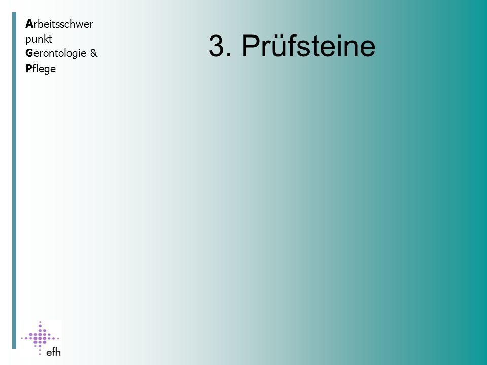 A rbeitsschwer punkt Gerontologie & Pflege 3. Prüfsteine