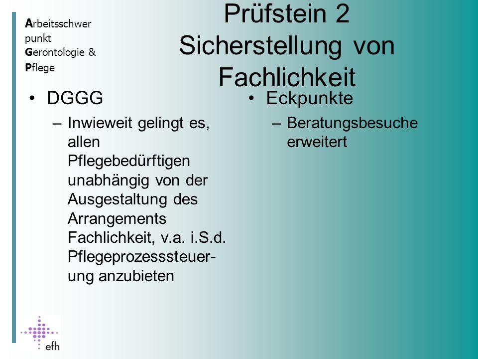 A rbeitsschwer punkt Gerontologie & Pflege Prüfstein 2 Sicherstellung von Fachlichkeit DGGG –Inwieweit gelingt es, allen Pflegebedürftigen unabhängig von der Ausgestaltung des Arrangements Fachlichkeit, v.a.