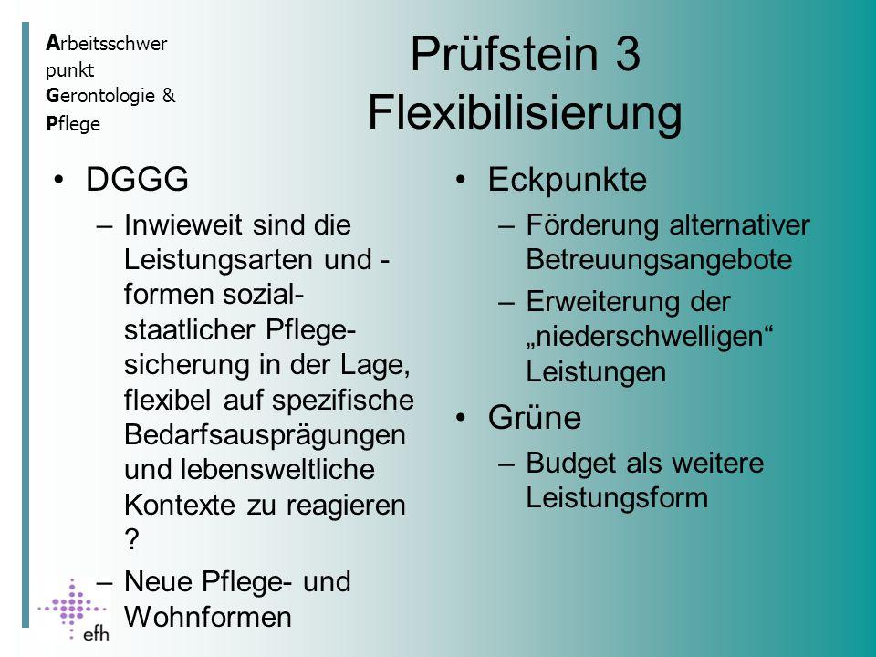 A rbeitsschwer punkt Gerontologie & Pflege Prüfstein 3 Flexibilisierung DGGG –Inwieweit sind die Leistungsarten und - formen sozial- staatlicher Pflege- sicherung in der Lage, flexibel auf spezifische Bedarfsausprägungen und lebensweltliche Kontexte zu reagieren .
