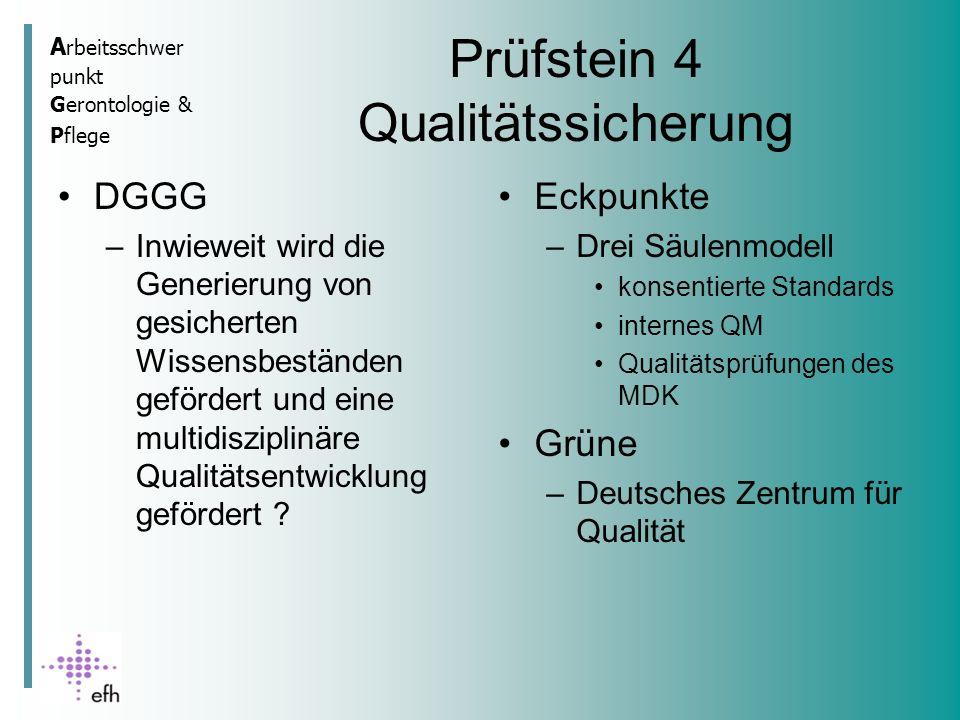 A rbeitsschwer punkt Gerontologie & Pflege Prüfstein 4 Qualitätssicherung DGGG –Inwieweit wird die Generierung von gesicherten Wissensbeständen gefördert und eine multidisziplinäre Qualitätsentwicklung gefördert .