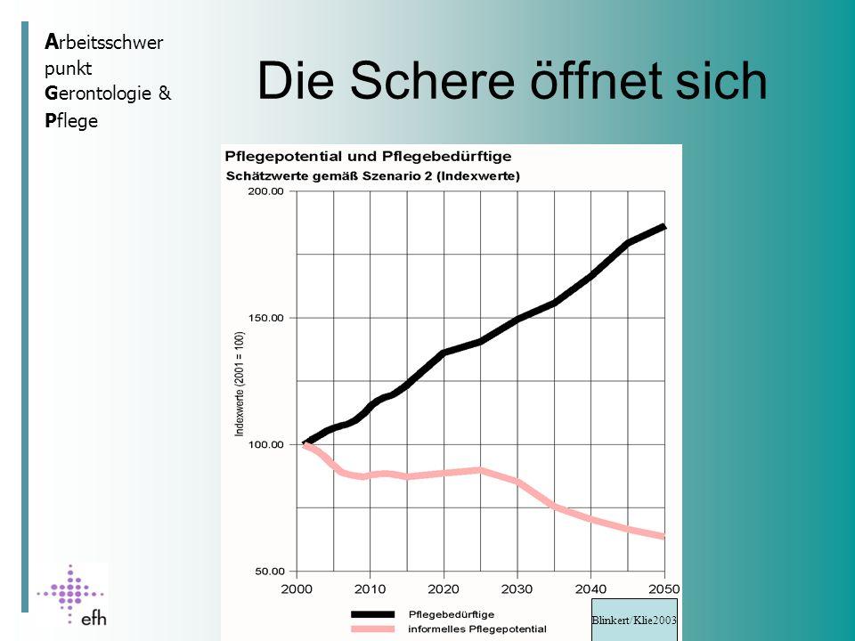 A rbeitsschwer punkt Gerontologie & Pflege Die Schere öffnet sich Blinkert/Klie2003