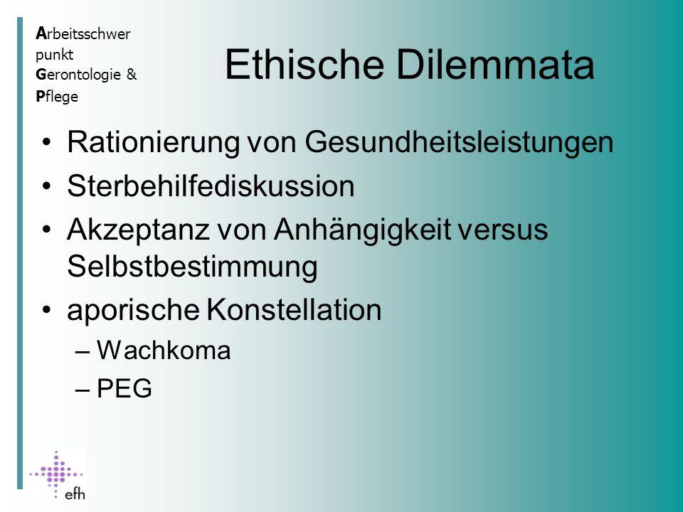 A rbeitsschwer punkt Gerontologie & Pflege Ethische Dilemmata Rationierung von Gesundheitsleistungen Sterbehilfediskussion Akzeptanz von Anhängigkeit versus Selbstbestimmung aporische Konstellation –Wachkoma –PEG